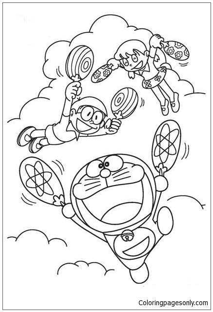 Doraemon Flies With Fan Coloring Page