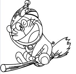 Doraemon Flying 1 Coloring Page