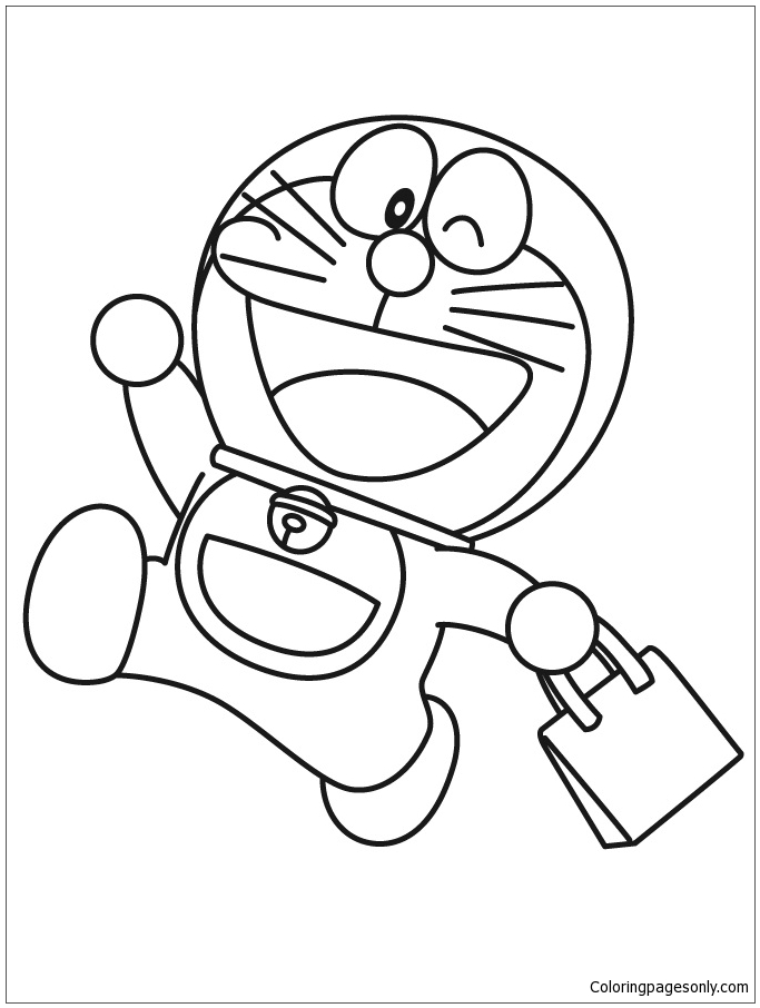 About Doraemon Goes Shopping Coloring Page