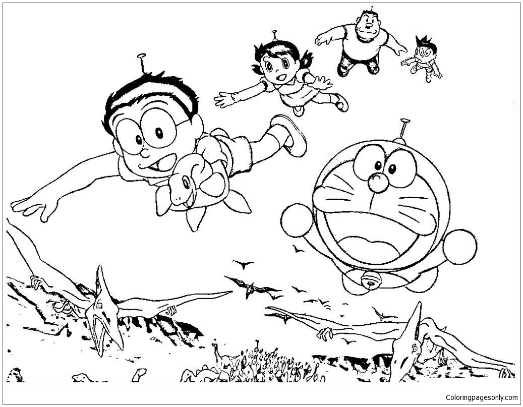 Doraemon his Friends With Dinosaurs