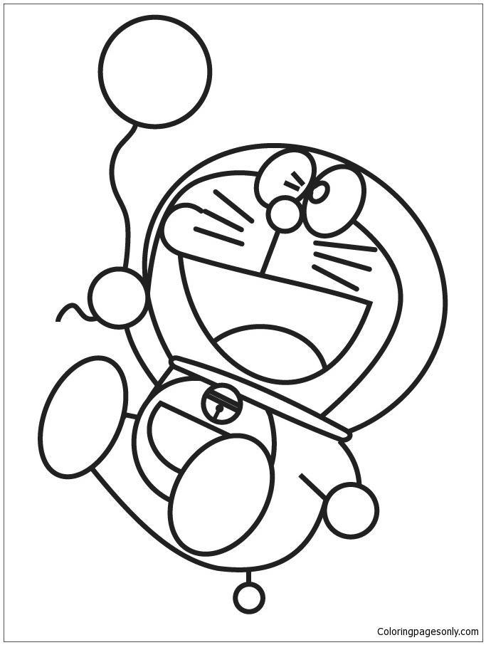 Doraemon Holding Balloon Coloring Page Free Coloring Pages Online