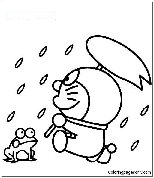 - Doraemon In A Rainy Day Coloring Page - Free Coloring Pages Online