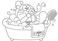 Doraemon In The Bath Coloring Page