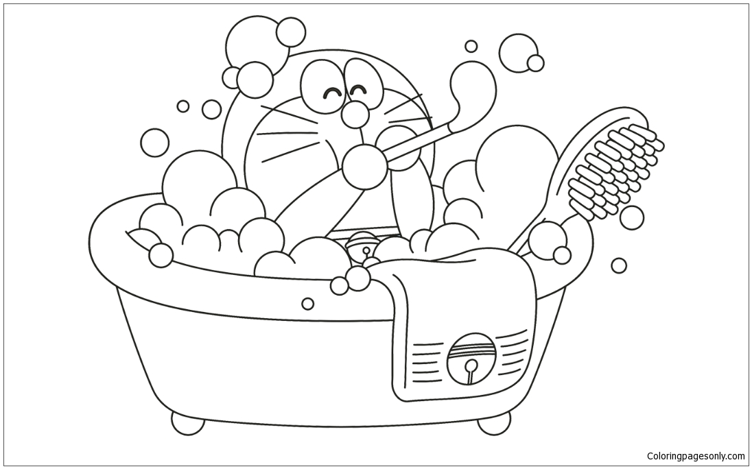Doraemon In The Bath Coloring Page - Free Coloring Pages Online