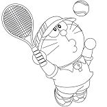 Doraemon is playing tennis