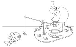 Doraemon is sitting fishing Coloring Page