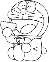 Doraemon Like Eating Donuts Coloring Page