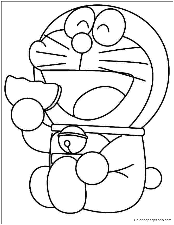 Doraemon Like Eating Donuts Coloring