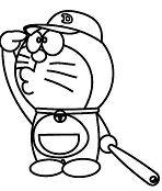 Doraemon Play Baseball Coloring Page