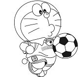 Doraemon Playing Football Coloring Page