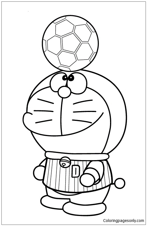Doraemon Playing Soccer Coloring Page