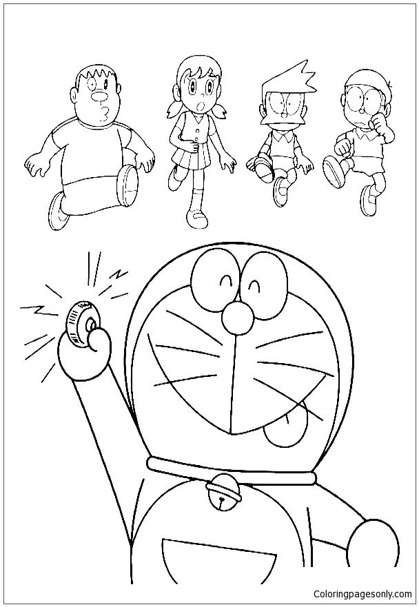 Doraemon Pressing Button Coloring Page