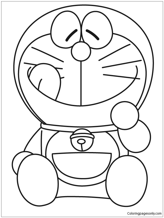 Doraemon Smiling With Tongue Out  Coloring Page