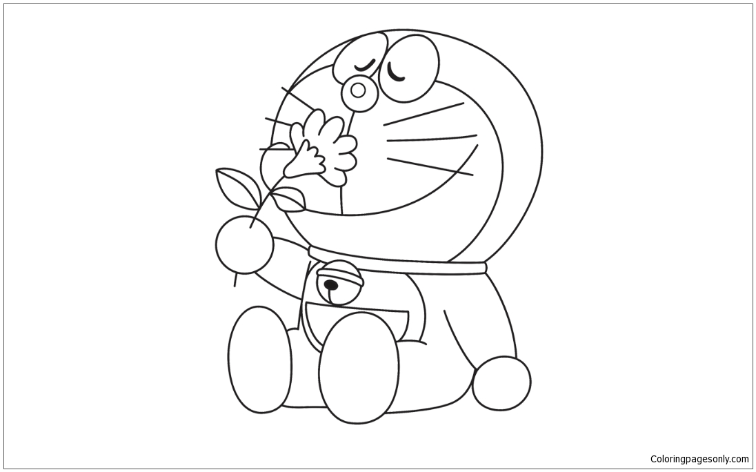 Doraemon With A Flower Beautiful Coloring Page