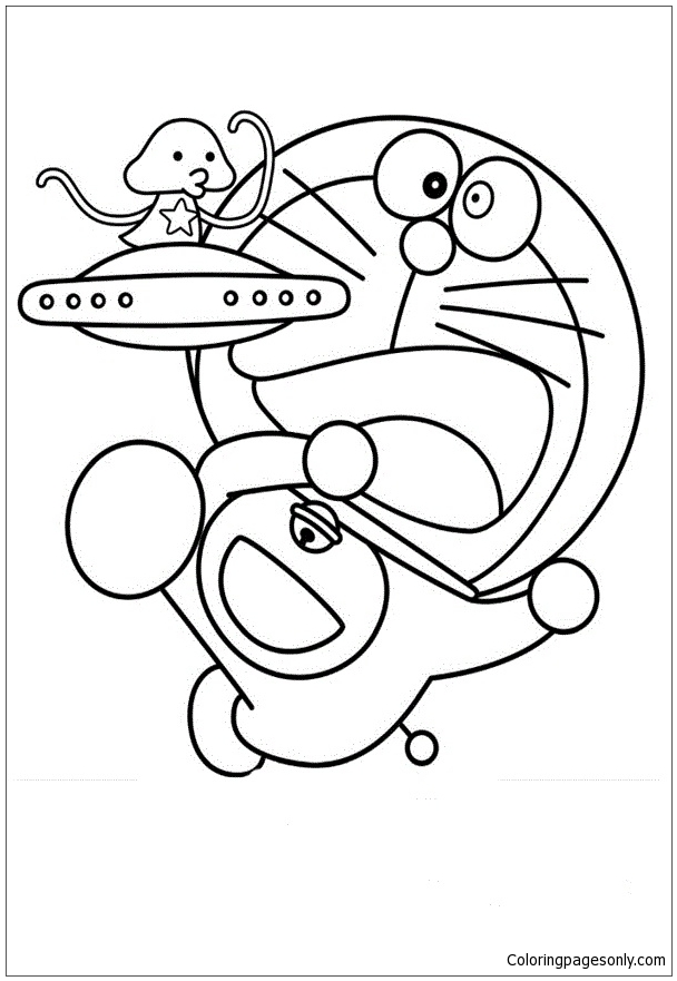 Doraemon With Ufo Coloring Page