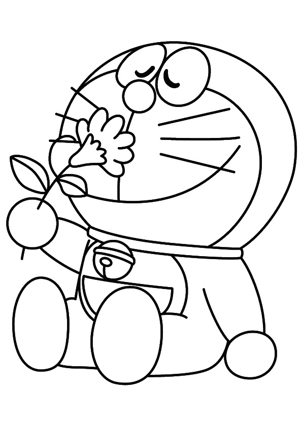 Doremon Loves Flowers Coloring Page