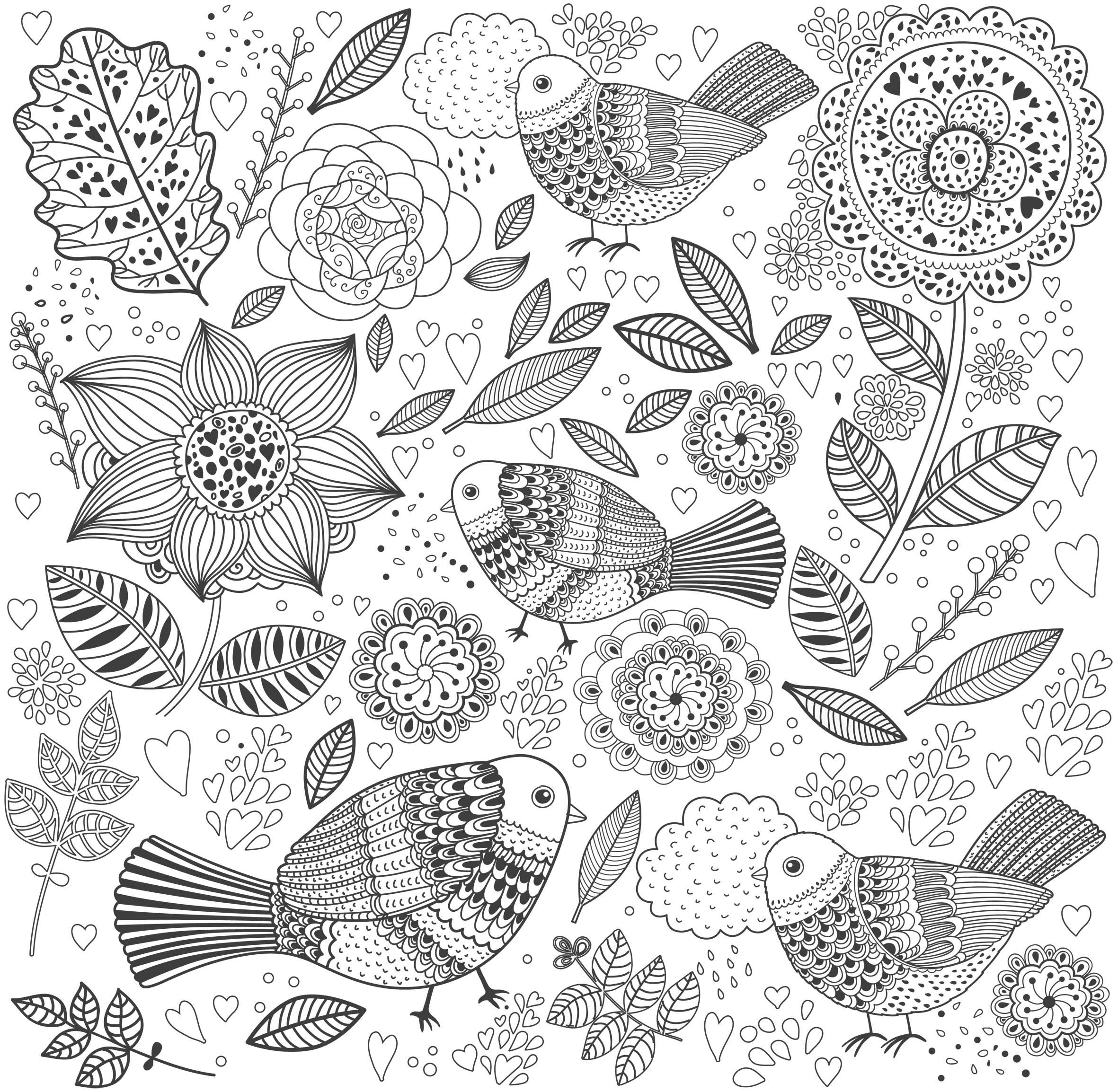 Dove and Flowers Coloring Page