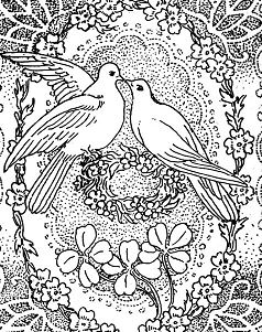 Doves Kissing in Peace and Love Coloring Page