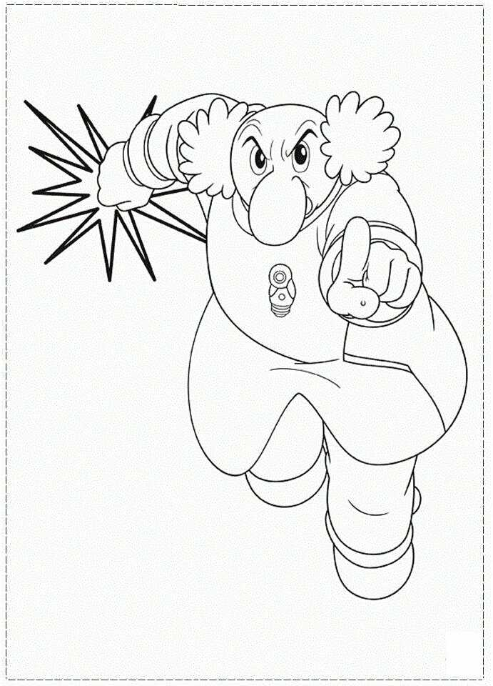 Dr. Elefun has a large nose and curly white hair in Astro Boy Film Coloring Page