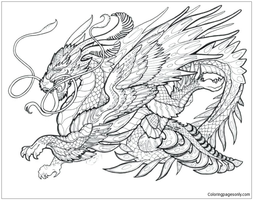 Dragon For Adults Coloring Pages Dragon Coloring Pages Free Printable Coloring Pages Online