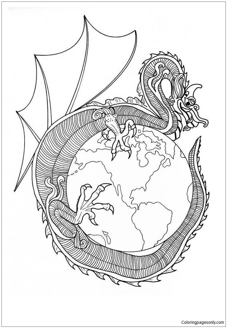 Dragon Of World Mandala Coloring Page Free Coloring Pages Online