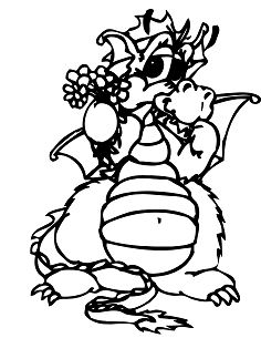 Dragon With Flowers