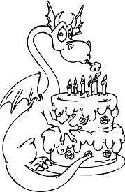 Dragon with Happy Birthday Cake