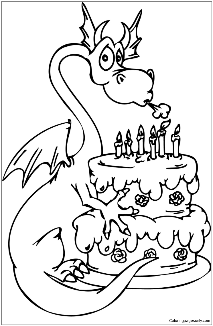 Dragon with Happy Birthday Cake Coloring Pages   Dragon Coloring ...