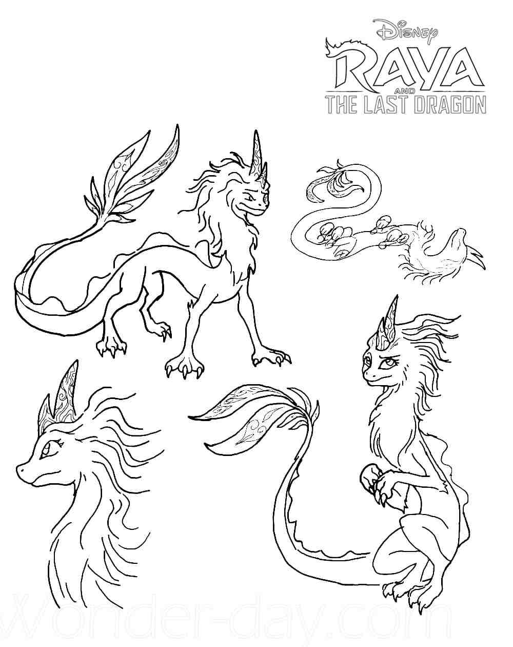 Dragons in Raya and the Last Dragon Coloring Page
