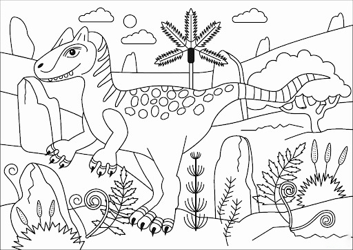 Draw Allosaurus Coloring Page