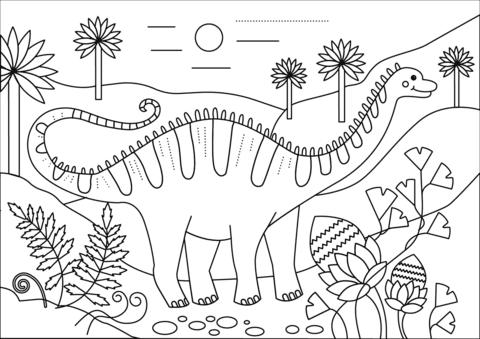 Draw Apatosaur Coloring Page