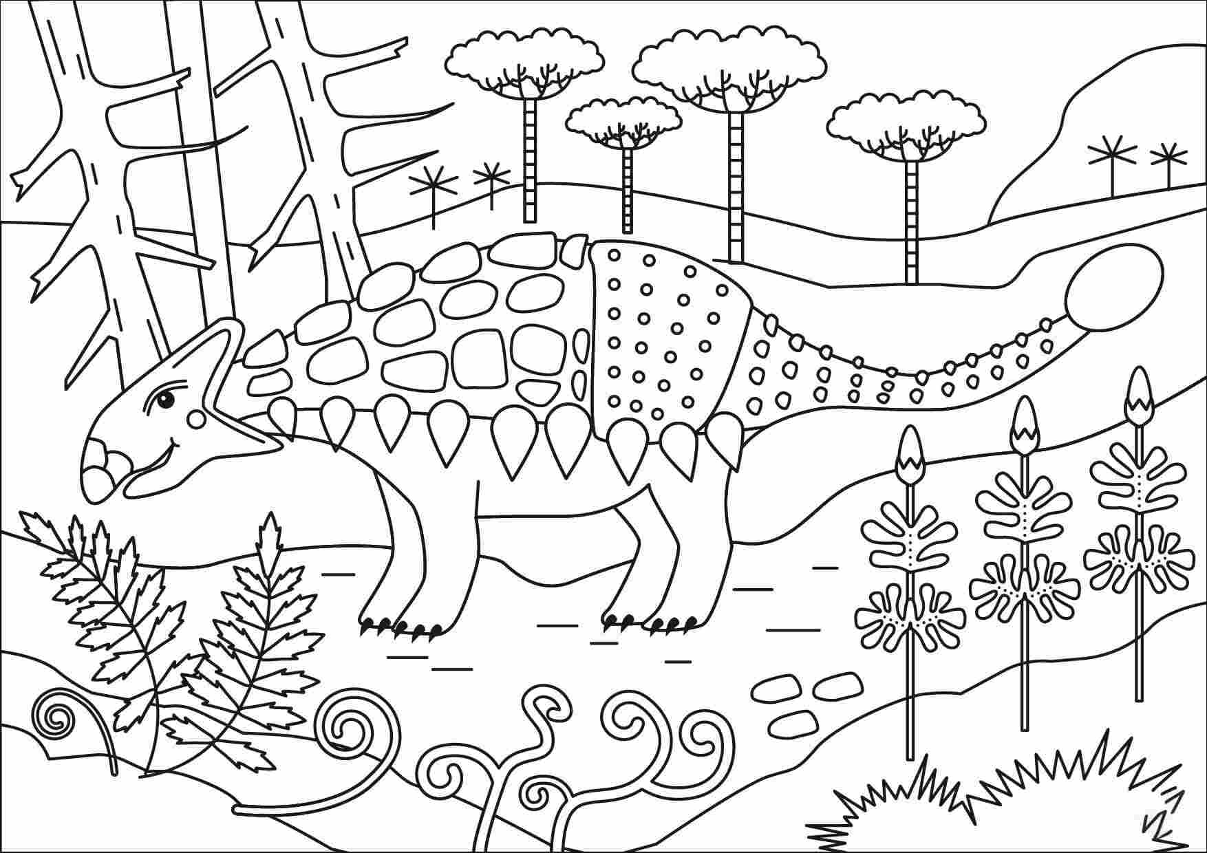 Drawing Ankylosaurus in the forest Coloring Page