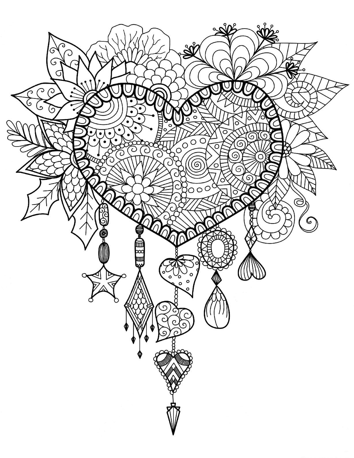 Dreams Catcher Heart Coloring Page