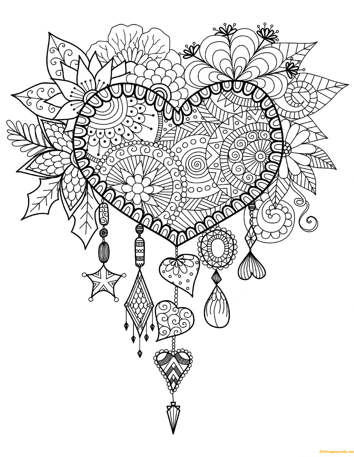 Dreams Catcher Heart Coloring Page Free Coloring Pages line