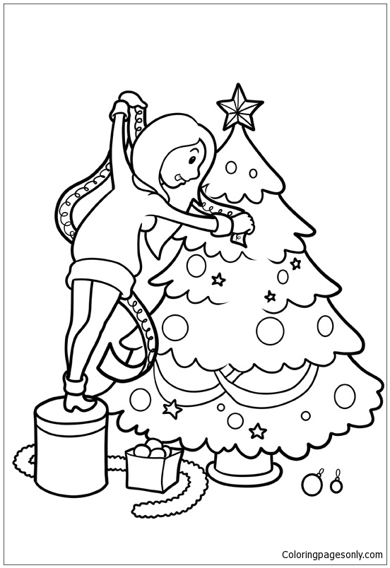 Dresses The Christmas Tree Coloring Page