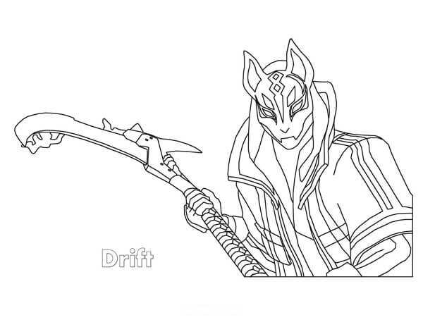 Drift holds his Pickage Edge from Fortnite game Coloring Page