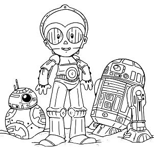 Droids From Star Wars Coloring Page