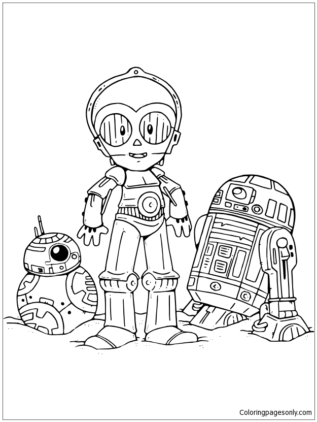 Droids From Star Wars Coloring Page Free Coloring Pages Line
