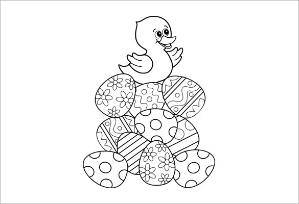 Duck Is On Easter Eggs Coloring Page