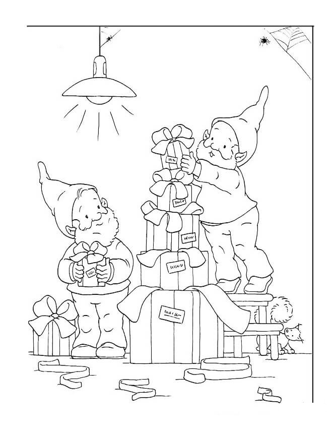 Dwarfs Preparing Gifts for Santa Claus Coloring Page