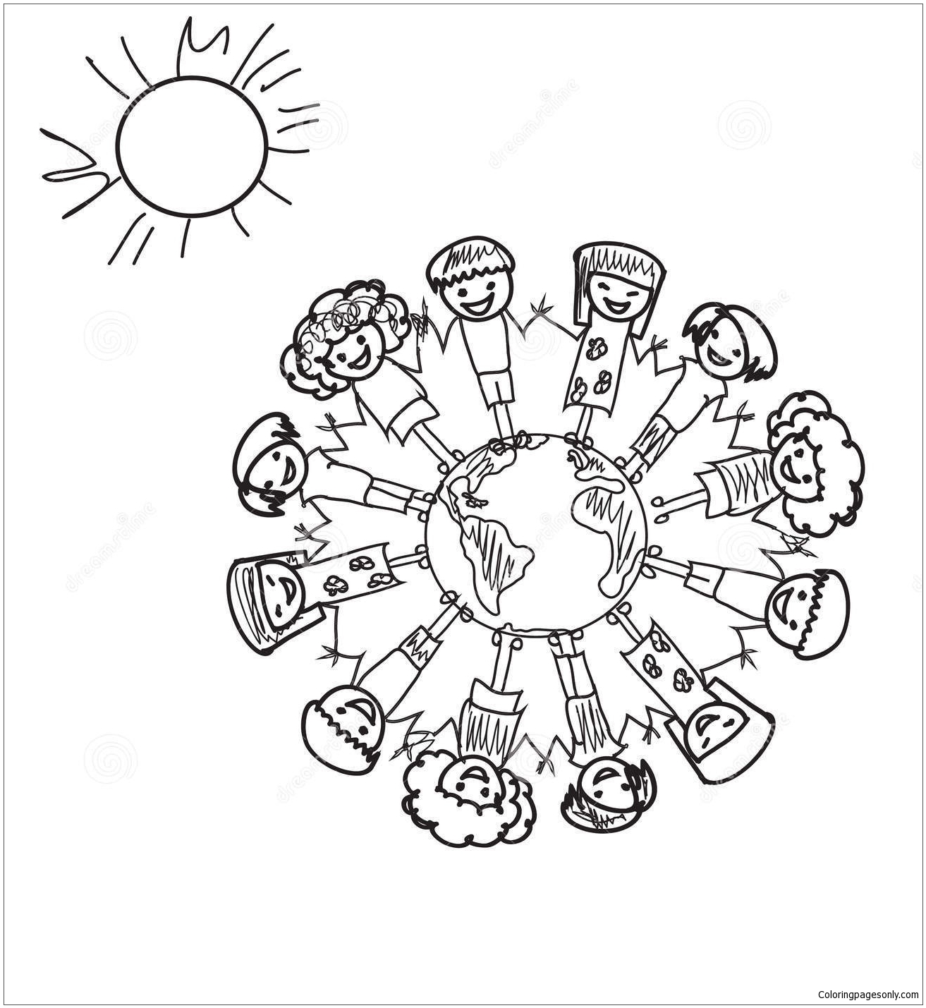 Earth Kids Doodle Coloring Page - Free Coloring Pages Online