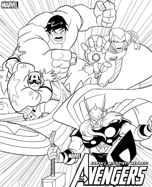 Earth's Mightiest Heroes of Avengers Coloring Page