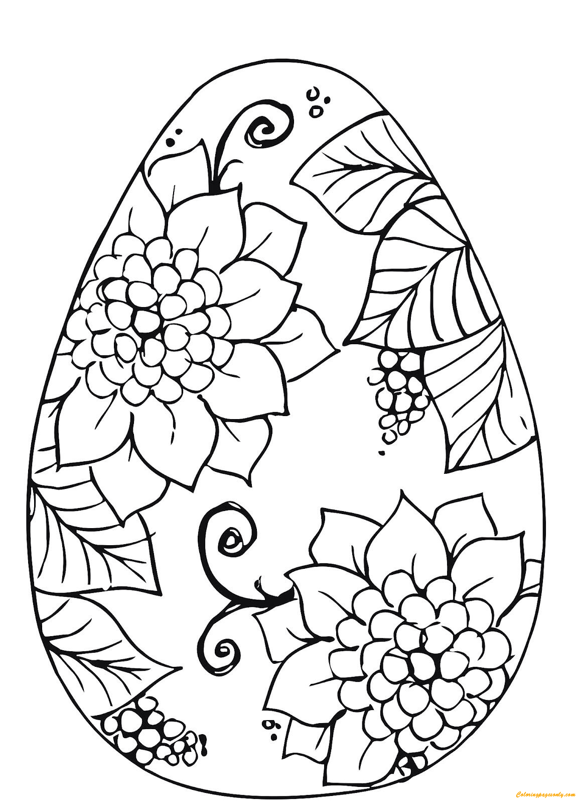 Easter Egg Flower Patterns Coloring Page