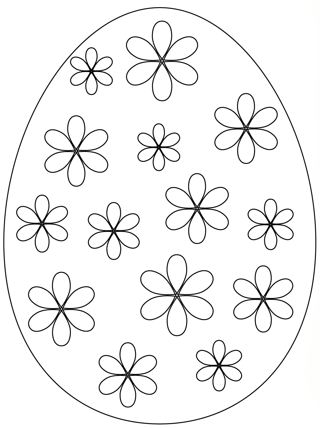 Easter Egg Simple Flowers Coloring Page