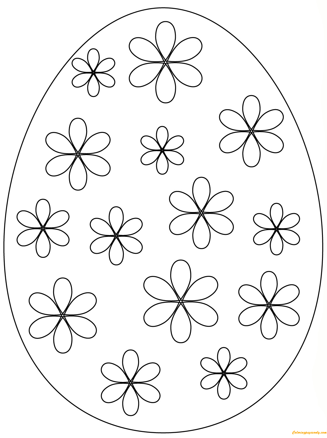 Easter Egg Simple Flowers Coloring Page - Free Coloring ...