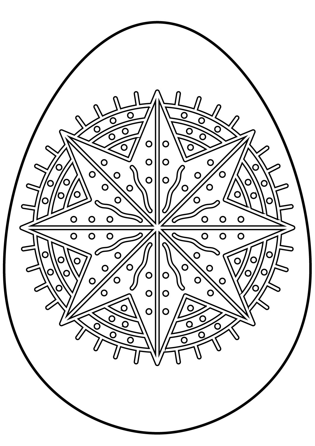 Easter Egg with Octagram Star Pattern