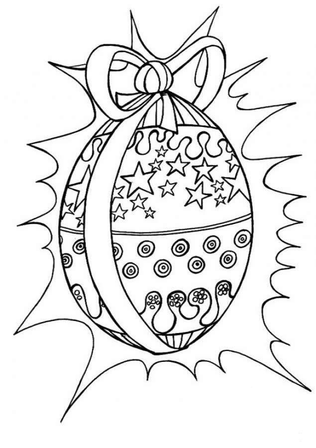 Easter Egg with Ribbon Coloring Page