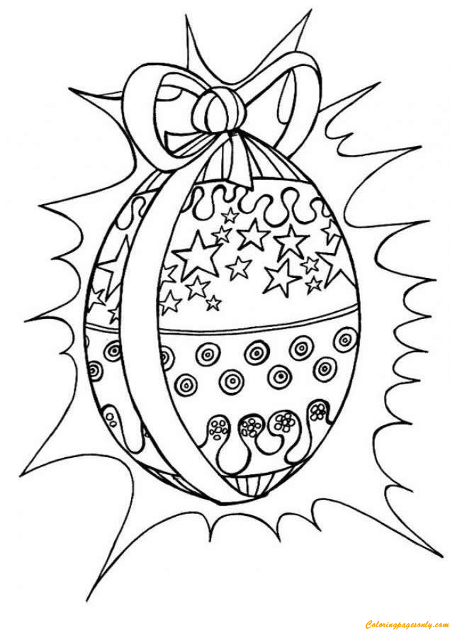 Easter Egg with Ribbon Coloring Pages