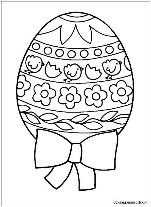 Easter Egg With Ribbons Coloring Page