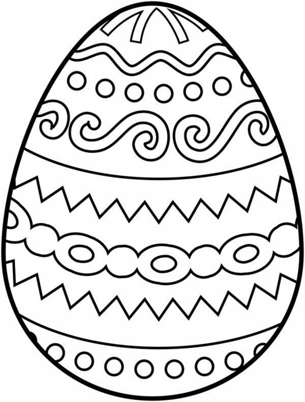 Easter Egg With Tribal Pattern Coloring Page